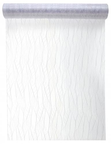 Chemin de table en tulle feuille blanc 30 cm x 5 m