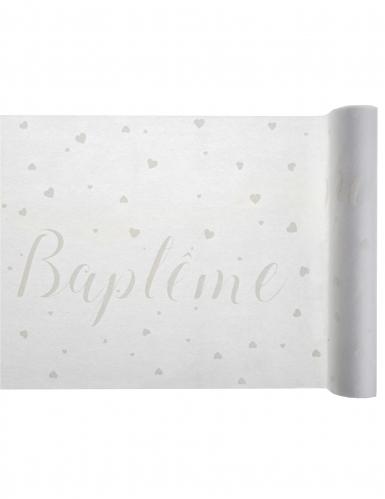 chemin de table en tissu bapt me blanc 30 cm x 5 m. Black Bedroom Furniture Sets. Home Design Ideas