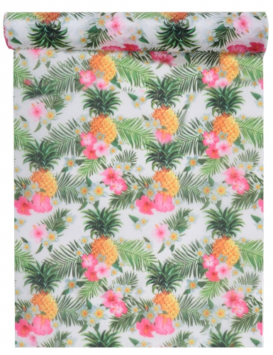 Chemin de table en tissu tropical multicolore 30 cm x 5 m