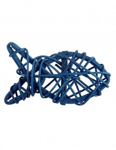 4 Poissons en rotin bleus 7 cm