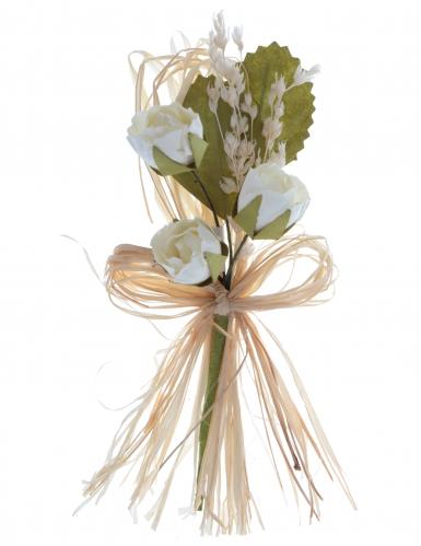 2 Mini bouquets en papier de roses ivoires 12 cm