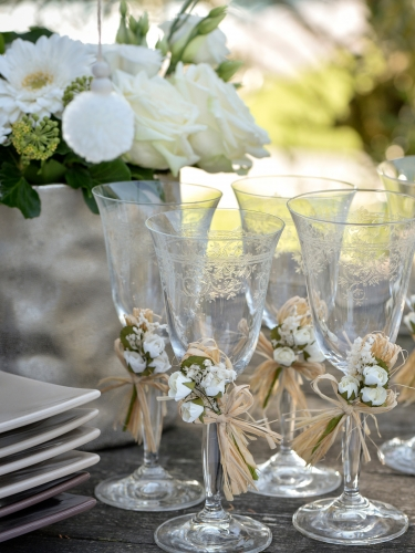 2 Mini bouquets en papier de roses ivoires 12 cm-2