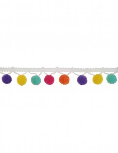 Ruban de pompons multicolores 2m
