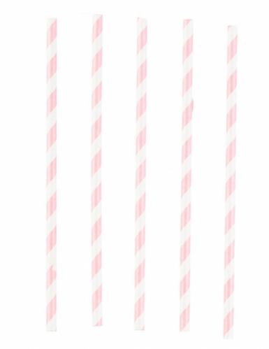 12 Pailles en carton rose et blanc 19 cm