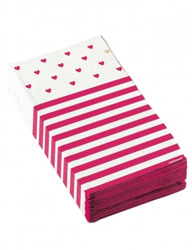 16 Serviettes en papier Petits Coeurs roses 17 x 33 cm