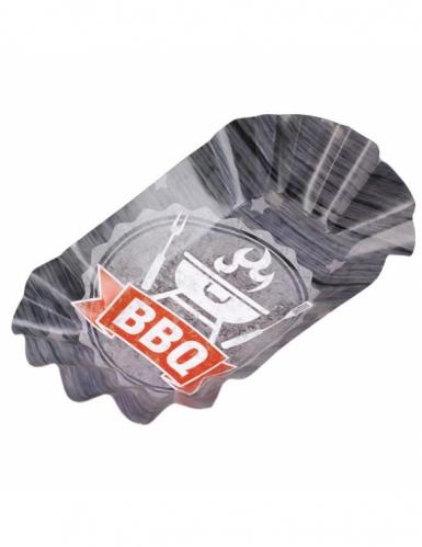 8 Plats en carton BBQ Party 17 X 10 cm