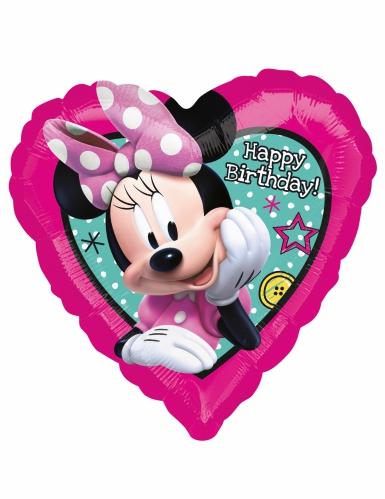 Ballon cœur aluminium Happy Birhday Minnie™ 43 x 43 cm-1