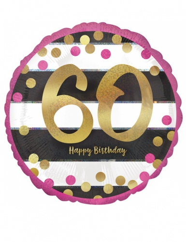 Ballon aluminium 60 ans Happy Birthday fuchsia et or 43 cm