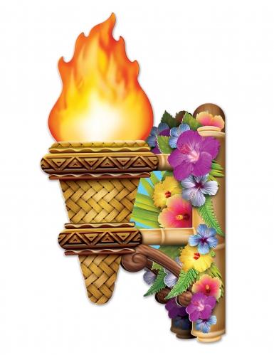 2 Décorations murales 3D Torche enflammée Tiki 41 cm