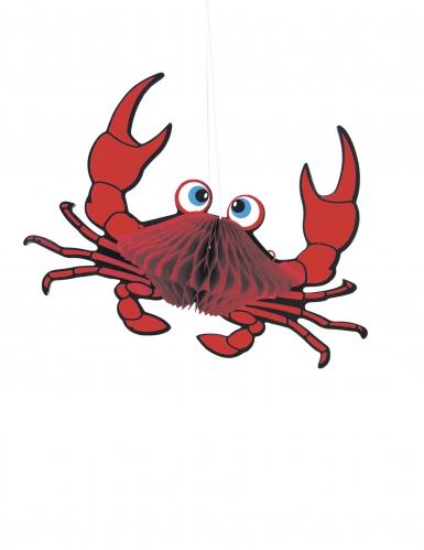 Suspension crabe rouge alvéolée 18 cm