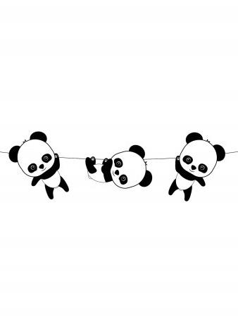 Guirlande en papier Bébé Panda 3,50 m