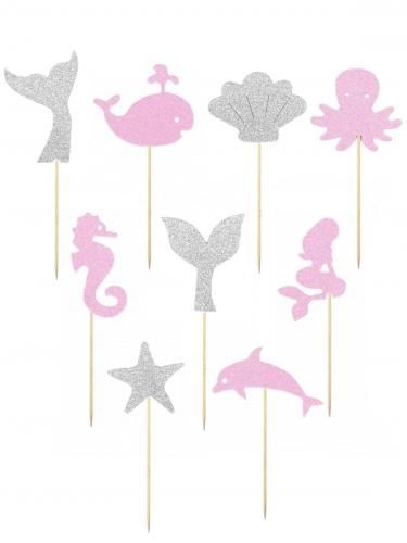 9 Piques décoratifs Under the Sea roses et gris pailletés 6 cm