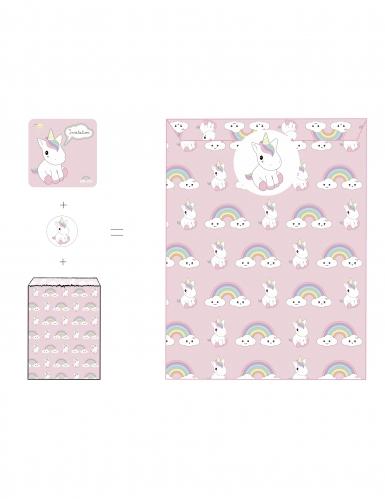 8 Invitations, enveloppes et stickers Bébé Licorne 12 x 12 cm
