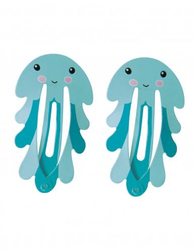 2 Barettes Pieuvres bleues 5,5 cm