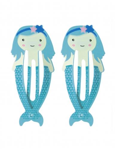 2 Barrettes Sirènes bleues 5,5 cm