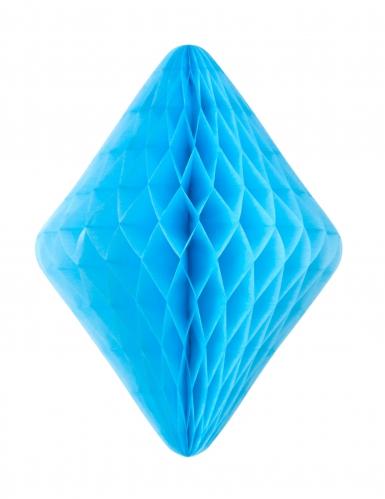 Diamant en papier alvéolé bleu aqua 24 x 30 cm