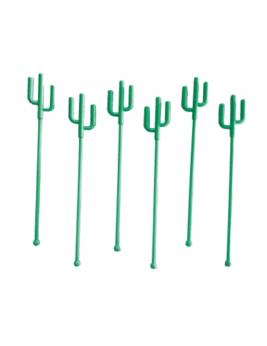 12 Agitateurs de cocktail Cactus verts 18 cm