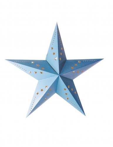 Lanterne étoile bleu glace 30 cm