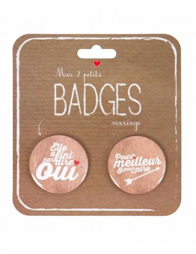 2 Badges mariage 4 cm