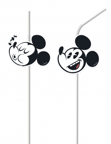 6 Pailles médaillon Mickey™ rétro