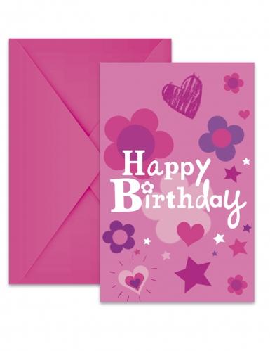 6 Cartons d'invitation avec enveloppes Happy Birthday fille 22 x 11 cm