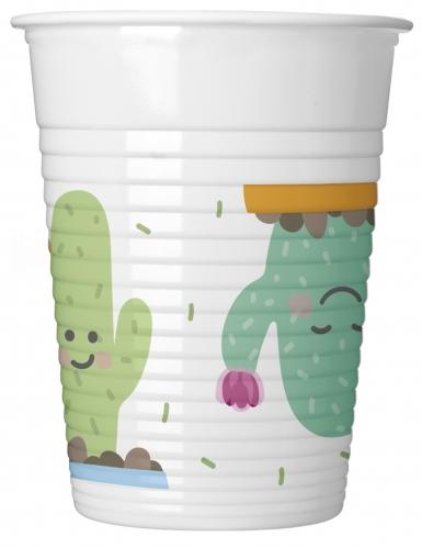 8 Gobelets en plastique Petits Cactus 200 ml