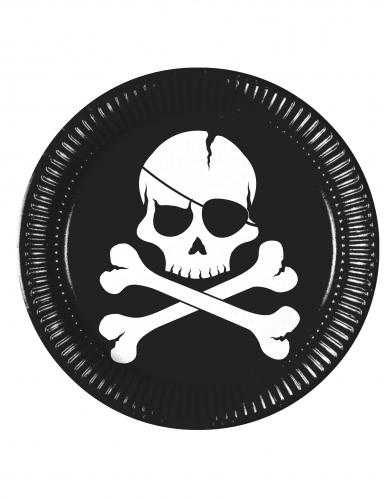 8 Assiettes en carton Pirate crâne noir 23 cm