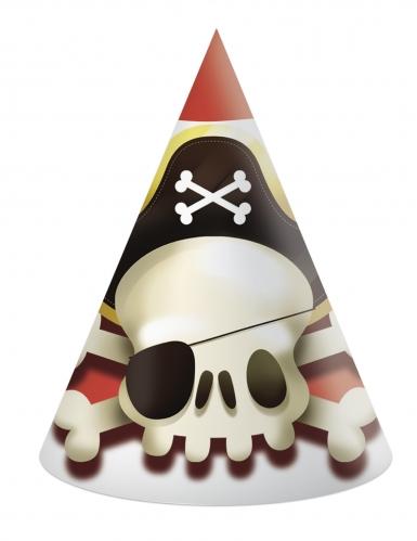 6 Chapeaux de fête en carton Pirate rouge et blanc