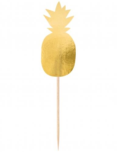 20 Pics décoratifs Ananas doré 9 cm