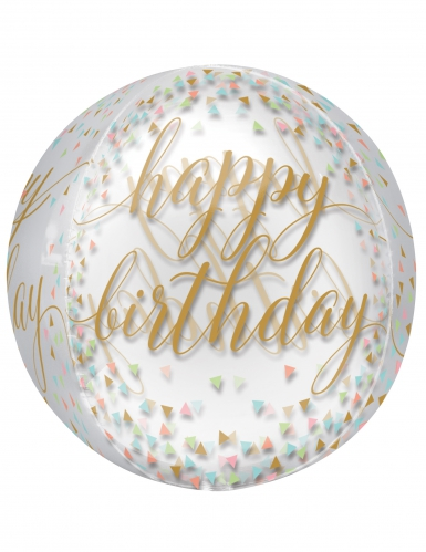 Ballon transparent Happy Birthday confettis pastels et or 40 cm