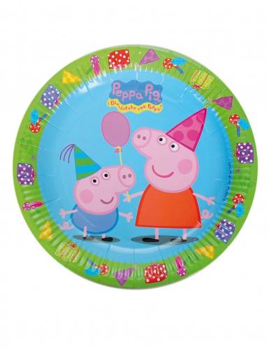 8 Assiettes en carton Peppa Pig™ anniversaire 23 cm