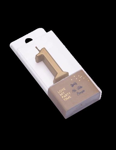 Bougie d'anniversaire chiffre 1 doré métallisé 4,3 cm