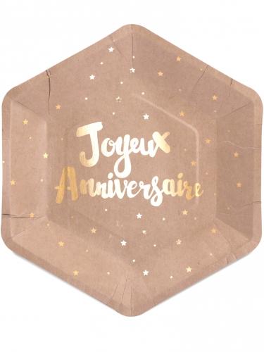 8 Assiettes en carton Joyeux Anniversaire kraft doré 23 cm