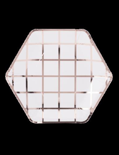 8 Assiettes en carton hexagonales à carreaux rose gold 23 cm