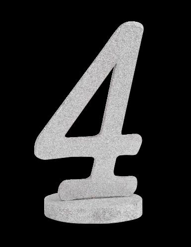 Centre de table chiffre 4 bois pailleté argenté 20 cm