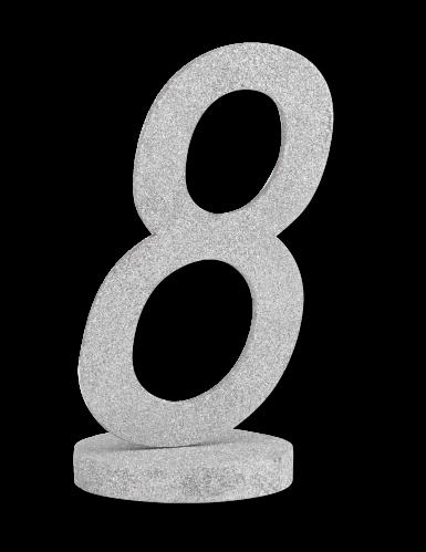 Centre de table chiffre 8 bois argenté à paillettes 20 cm