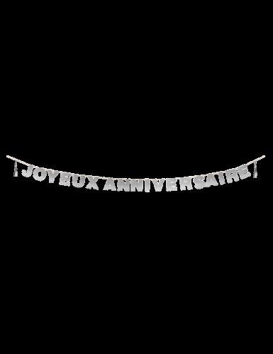 Guirlande à tassels Joyeux Anniversaire argentée 4 m