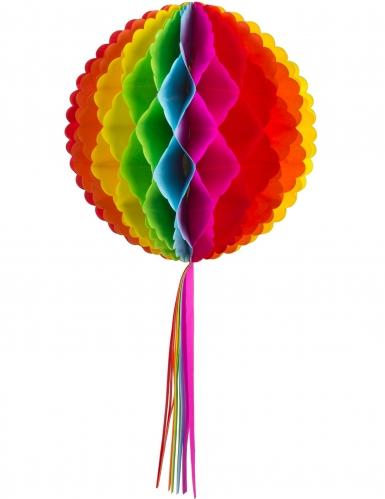 Boule alvéolée en papier et tassel arc-en-ciel 30 cm