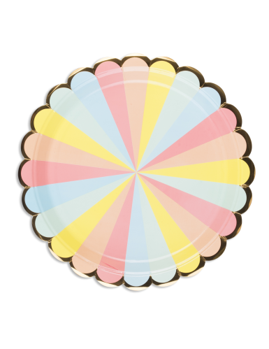 8 Assiettes en carton Berlingot pastel et dorure 23 cm