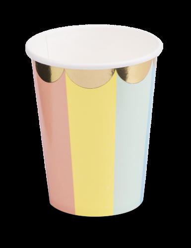 8 Gobelets en carton Berlingot pastel et dorure 200 ml