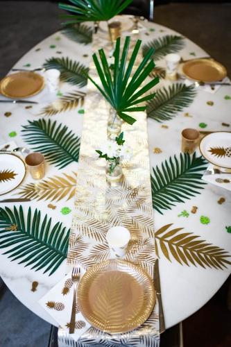 Chemin de table en lin palmier doré 28 cm x 5 m-2
