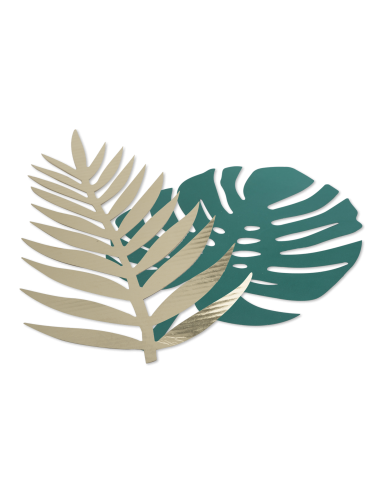 6 Feuilles tropicales vert et or carton