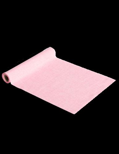 Chemin de table en lin rose 28 cm x 5 m