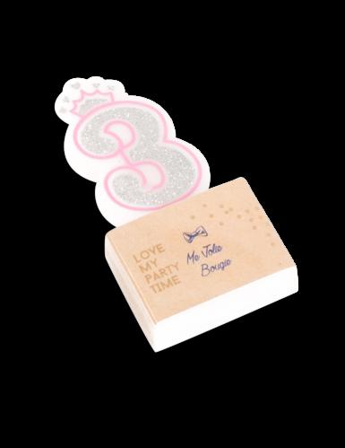 Bougie d'anniversaire chiffre 3 Princesse 5,8 cm