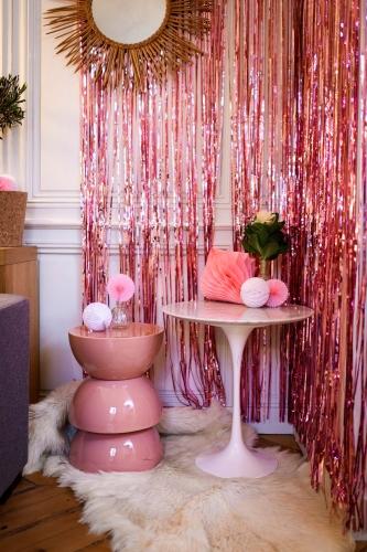 rideau scintillant franges rose gold 2 44 m x 92 cm d coration anniversaire et f tes th me. Black Bedroom Furniture Sets. Home Design Ideas