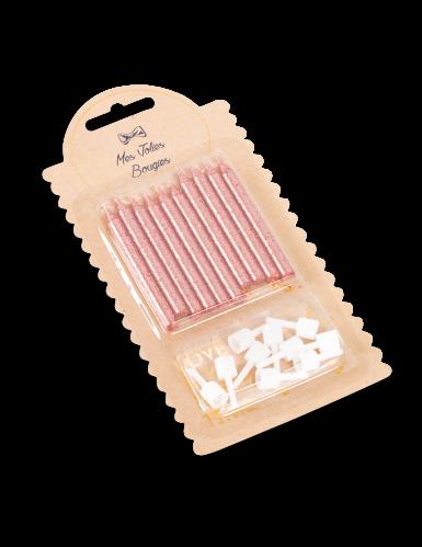 10 Bougies avec bobèches rose gold pailletées 6 cm