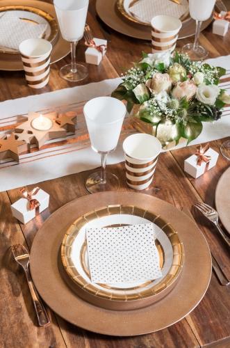 10 Assiettes en carton blanc et cuivre métallisé 23 cm-1