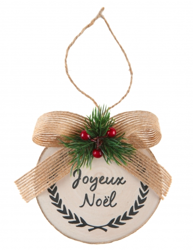 Deco De Noel En Bois Naturel.Suspension En Bois Naturel Houx De Noël 8 X 10 Cm
