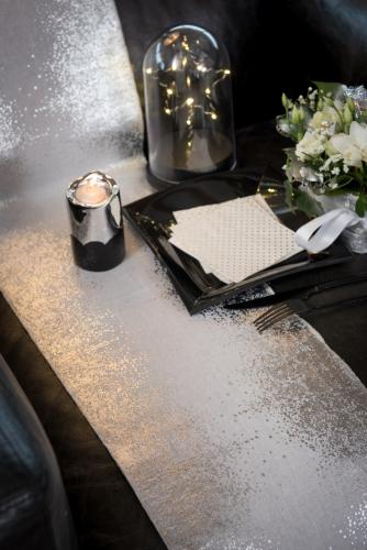 Chemin de table en coton argenté métallisé blanc 3 m-1