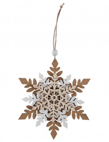 suspension en bois flocon de neige blanc 15 x 11 cm d coration anniversaire et f tes th me. Black Bedroom Furniture Sets. Home Design Ideas